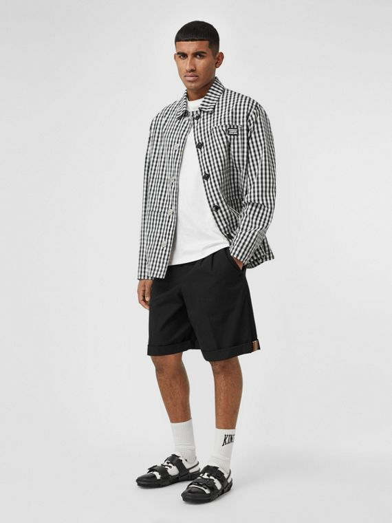 Icon Stripe Detail Cotton Twill Tailored Shorts in Black
