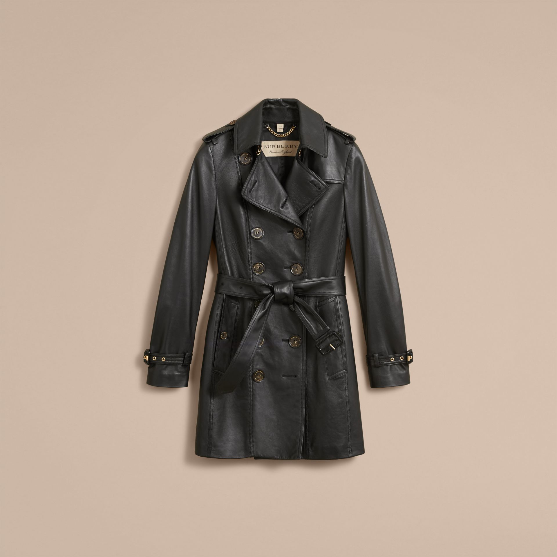 Lambskin Trench Coat in Black - Women | Burberry Australia - gallery image 4