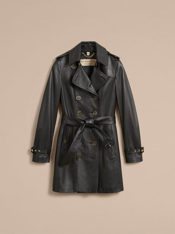 Lambskin Trench Coat in Black - Women | Burberry - cell image 3