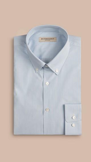 Slim Fit Button-down Collar Striped Cotton Poplin Shirt