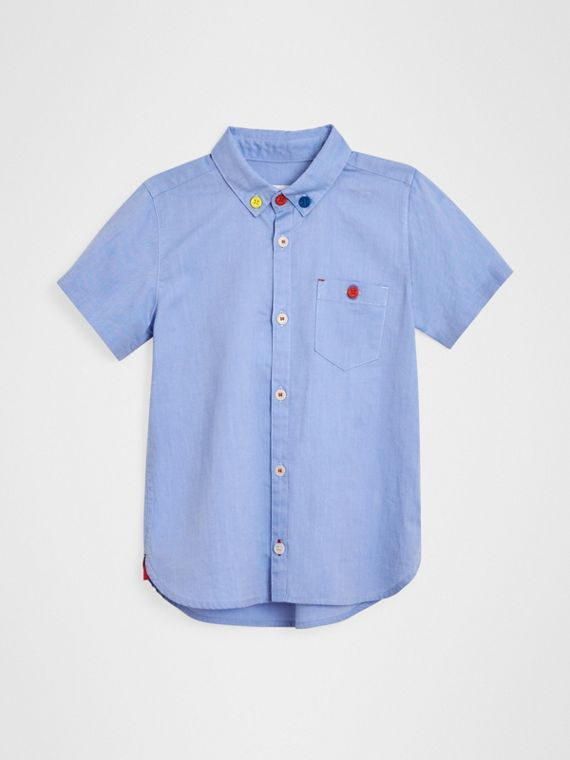 Short-sleeve Button-down Collar Cotton Oxford Shirt in Cornflower