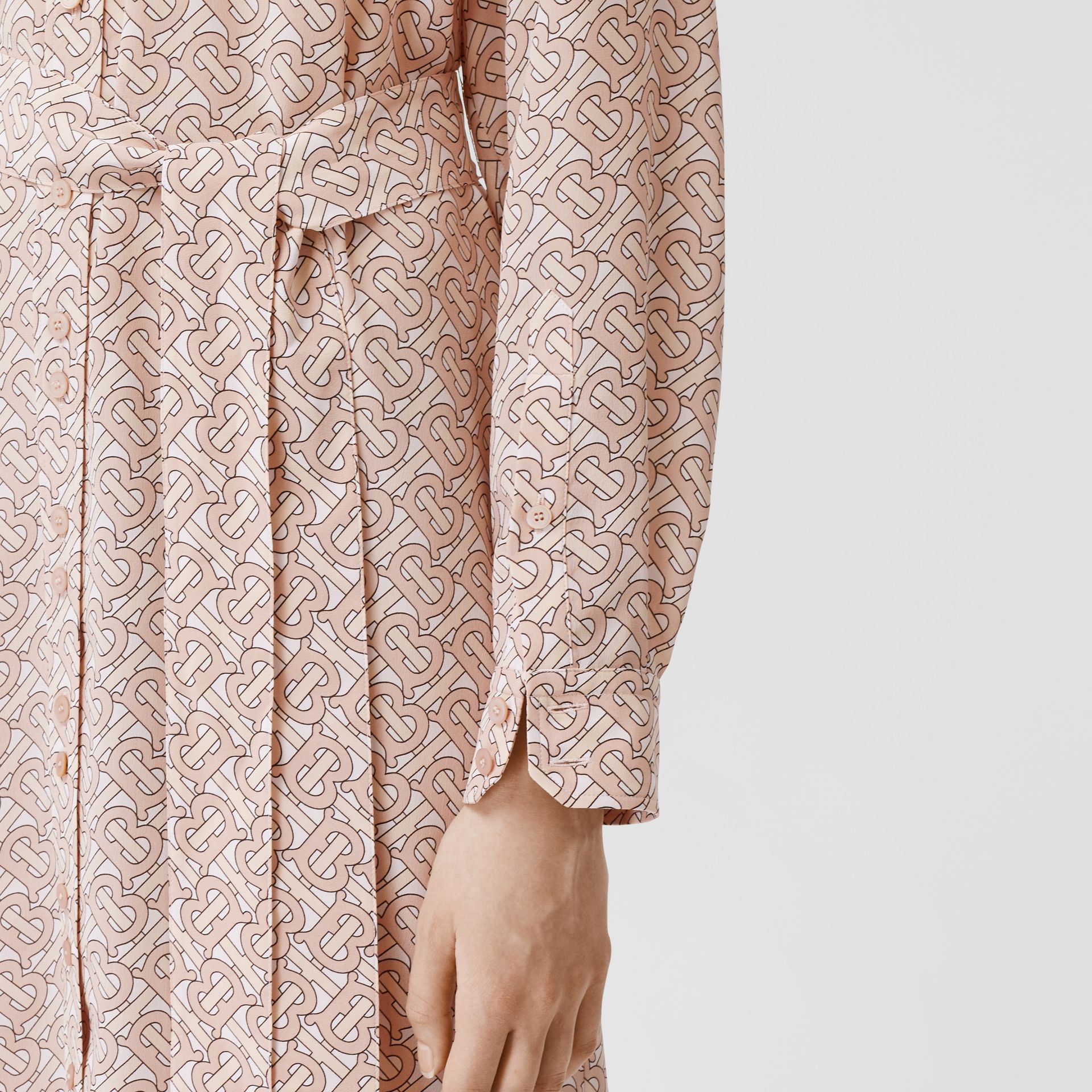 Monogram Print Silk Crepe De Chine Shirt Dress in Pale Copper Pink - Women | Burberry - gallery image 4