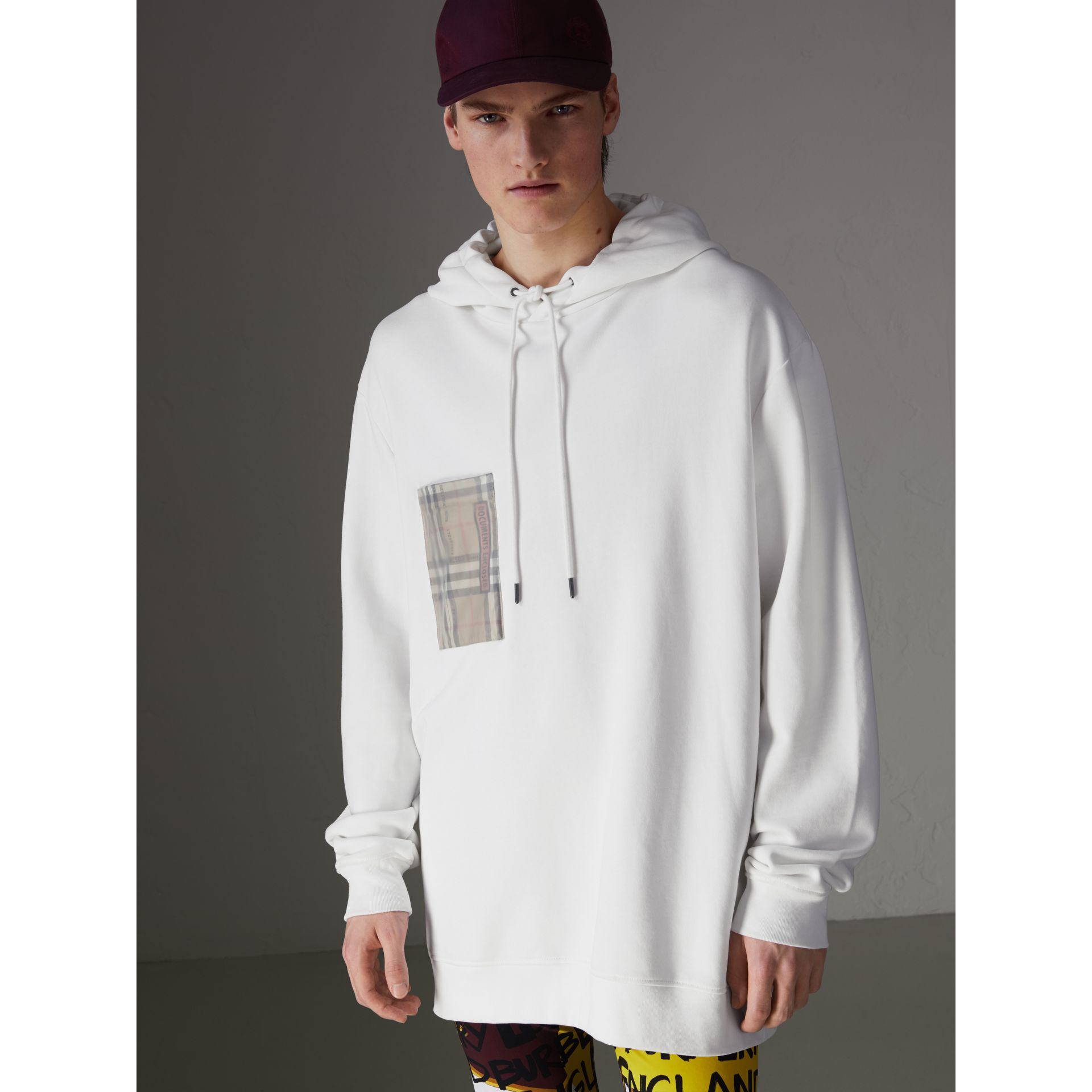 Ticket Print Pocket Cotton Jersey Hoodie in White - Men | Burberry - gallery image 4