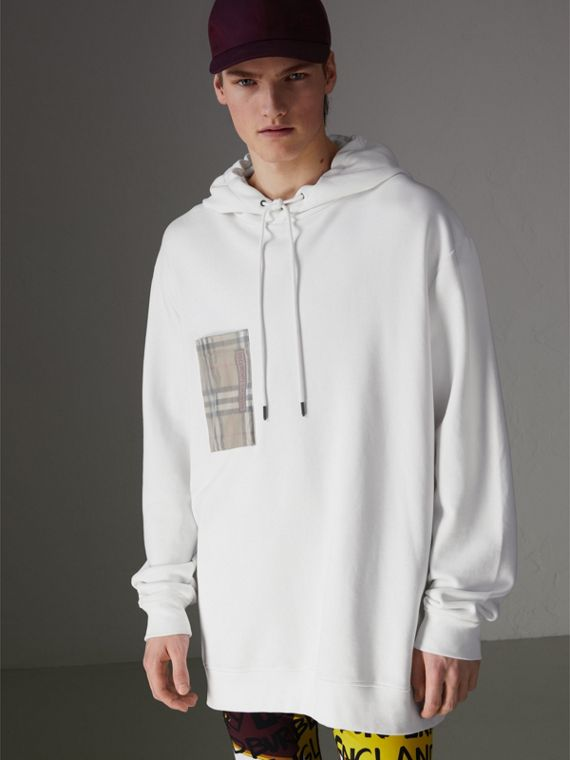 Ticket Print Pocket Cotton Jersey Hoodie in White