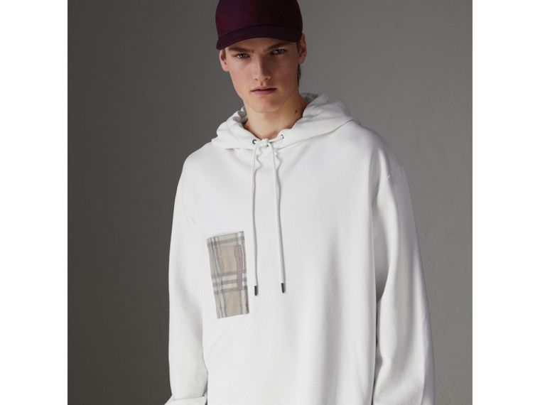 Ticket Print Pocket Cotton Jersey Hoodie in White - Men | Burberry - cell image 4
