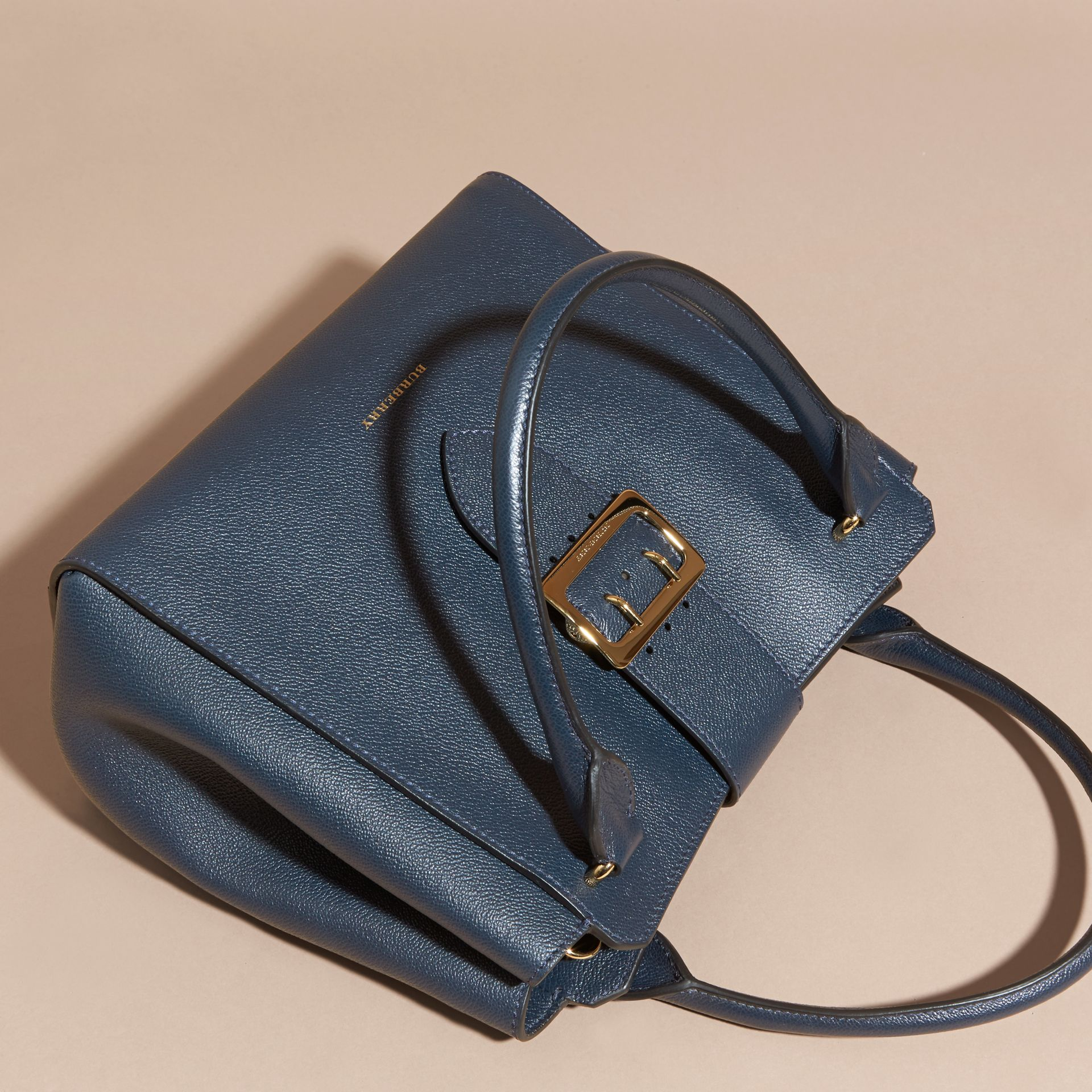 The Medium Buckle Tote in Grainy Leather Blue Carbon - gallery image 8