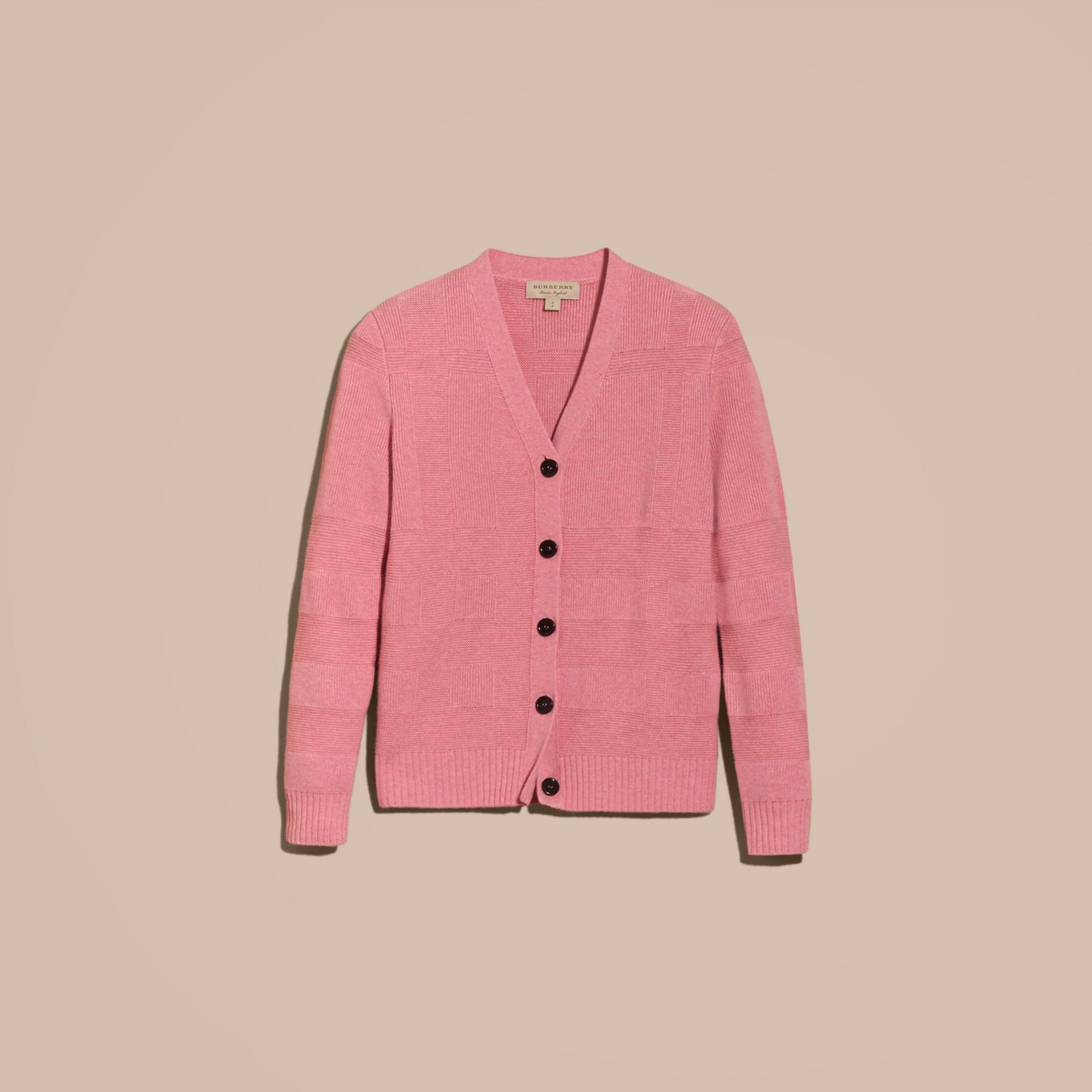 Check-knit Wool Cashmere Cardigan in Hydrangea Pink Melange - gallery image 4