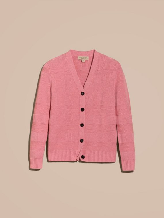 Check-knit Wool Cashmere Cardigan in Hydrangea Pink Melange - cell image 3