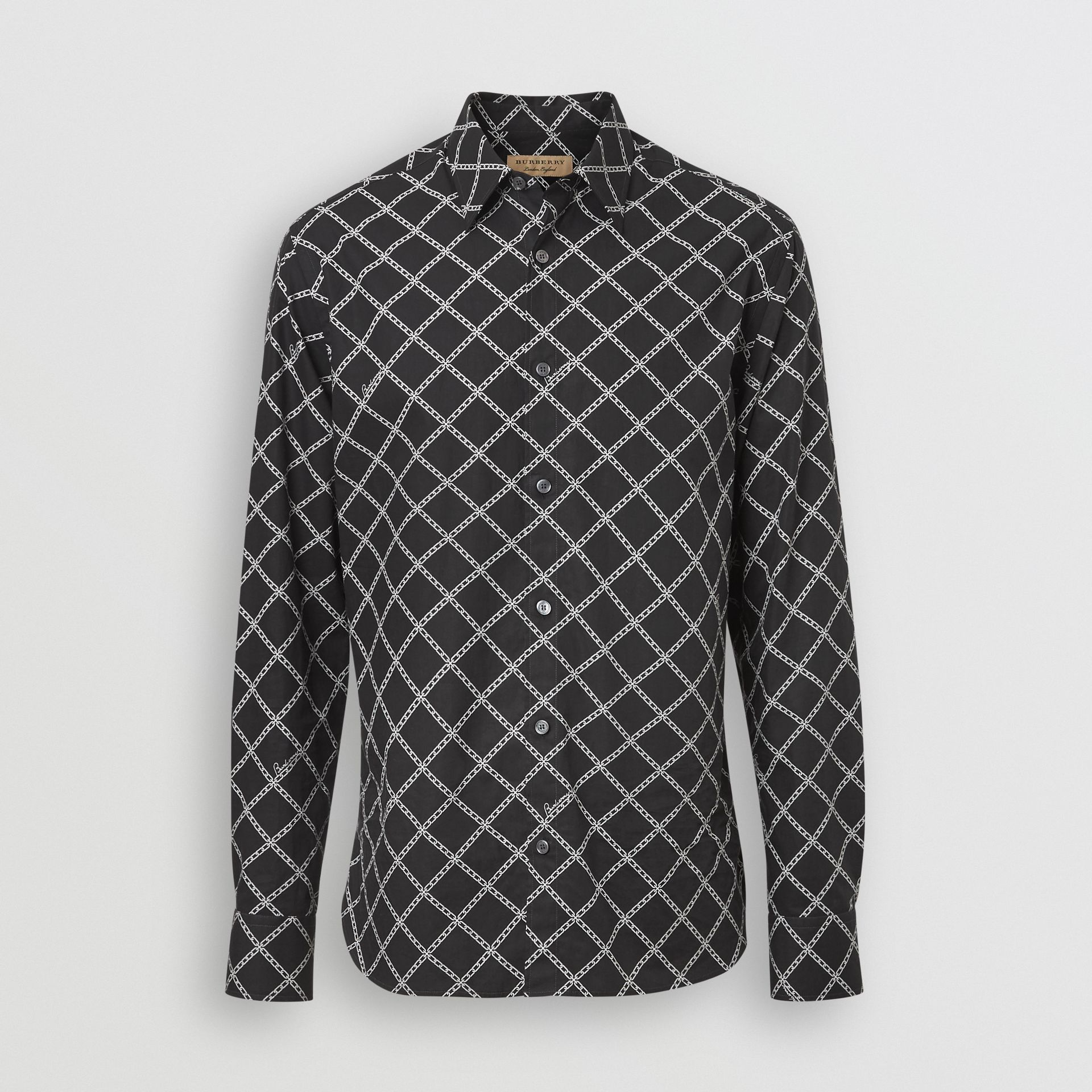 Link Print Cotton Poplin Shirt in Black - Men | Burberry Canada - gallery image 3
