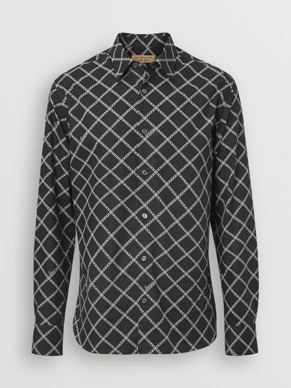 Link Print Cotton Poplin Shirt in Black - Men | Burberry - cell image 3