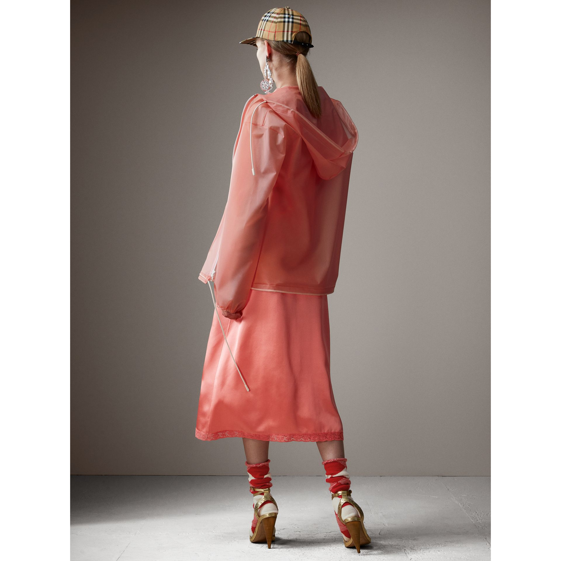 Soft-touch Plastic Cagoule in Rose Pink - Women | Burberry - gallery image 3