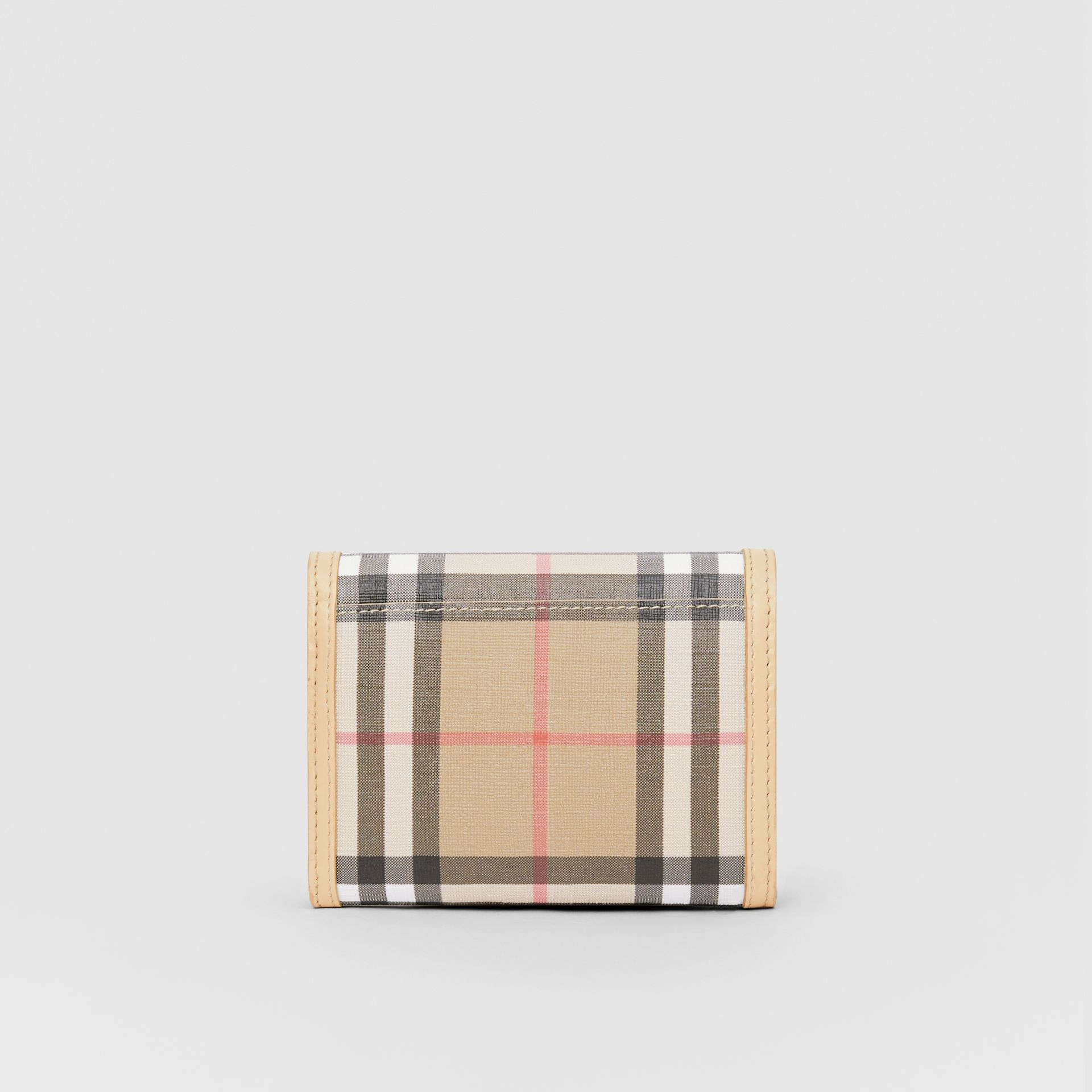 Small Vintage Check E-canvas Folding Wallet in Beige - Women | Burberry - gallery image 4