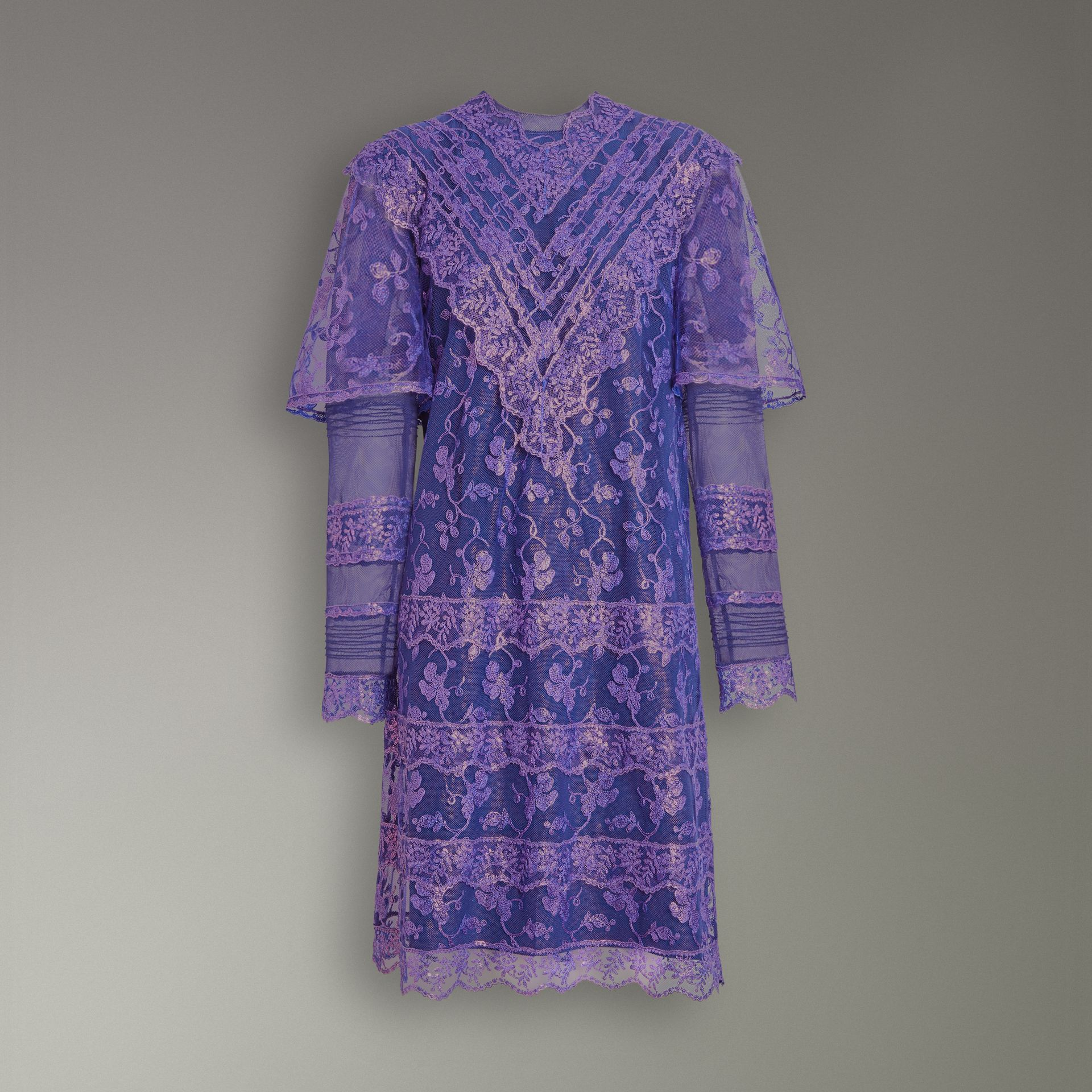 Laminated Lace Cape Sleeve Dress in Bright Purple - Women | Burberry Canada - gallery image 4