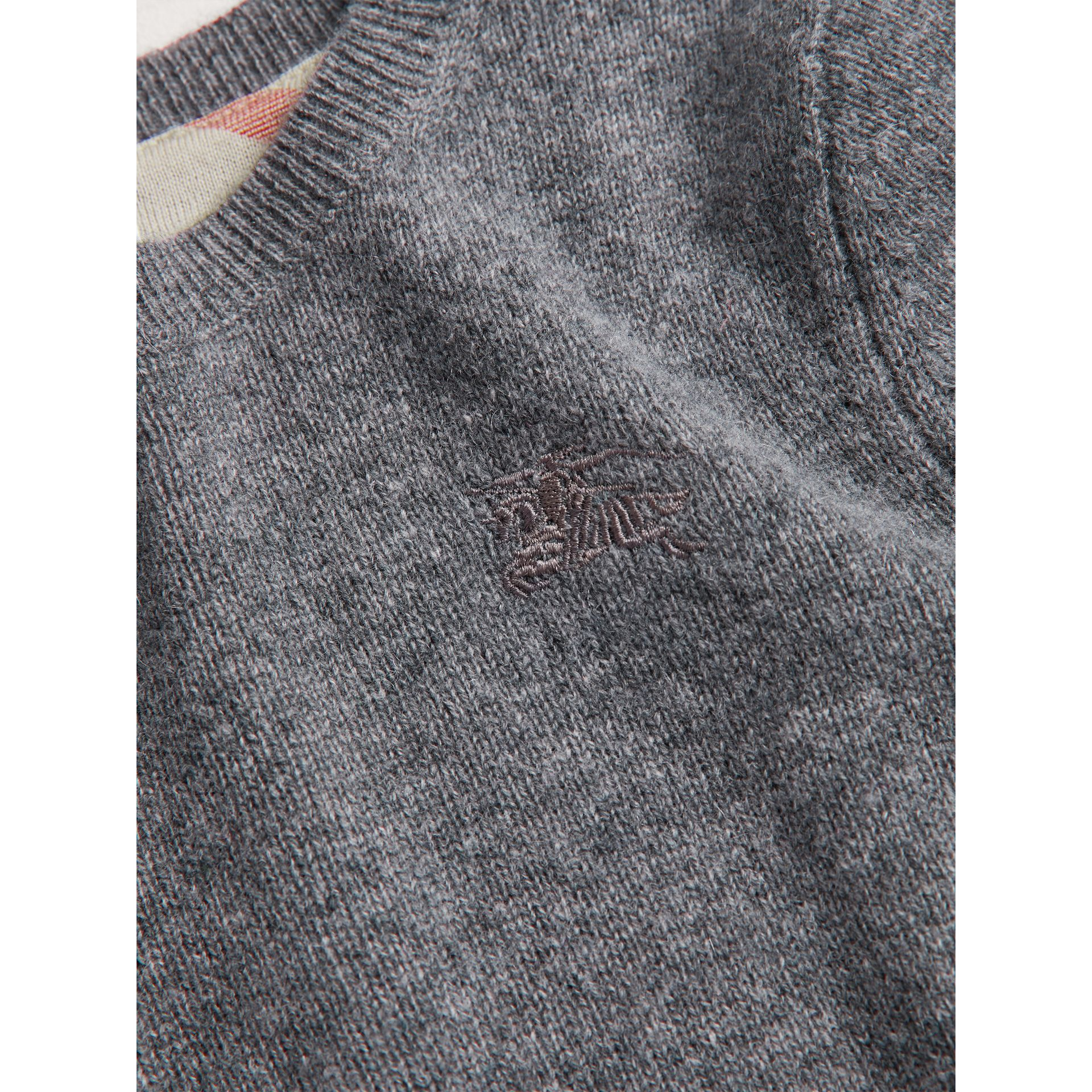 Check Elbow Patch Cashmere Sweater in Mid Grey Melange - Boy | Burberry Canada - gallery image 1