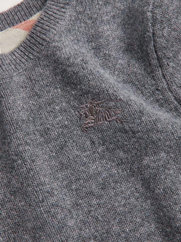 Check Elbow Patch Cashmere Sweater in Mid Grey Melange - Boy | Burberry - cell image 1