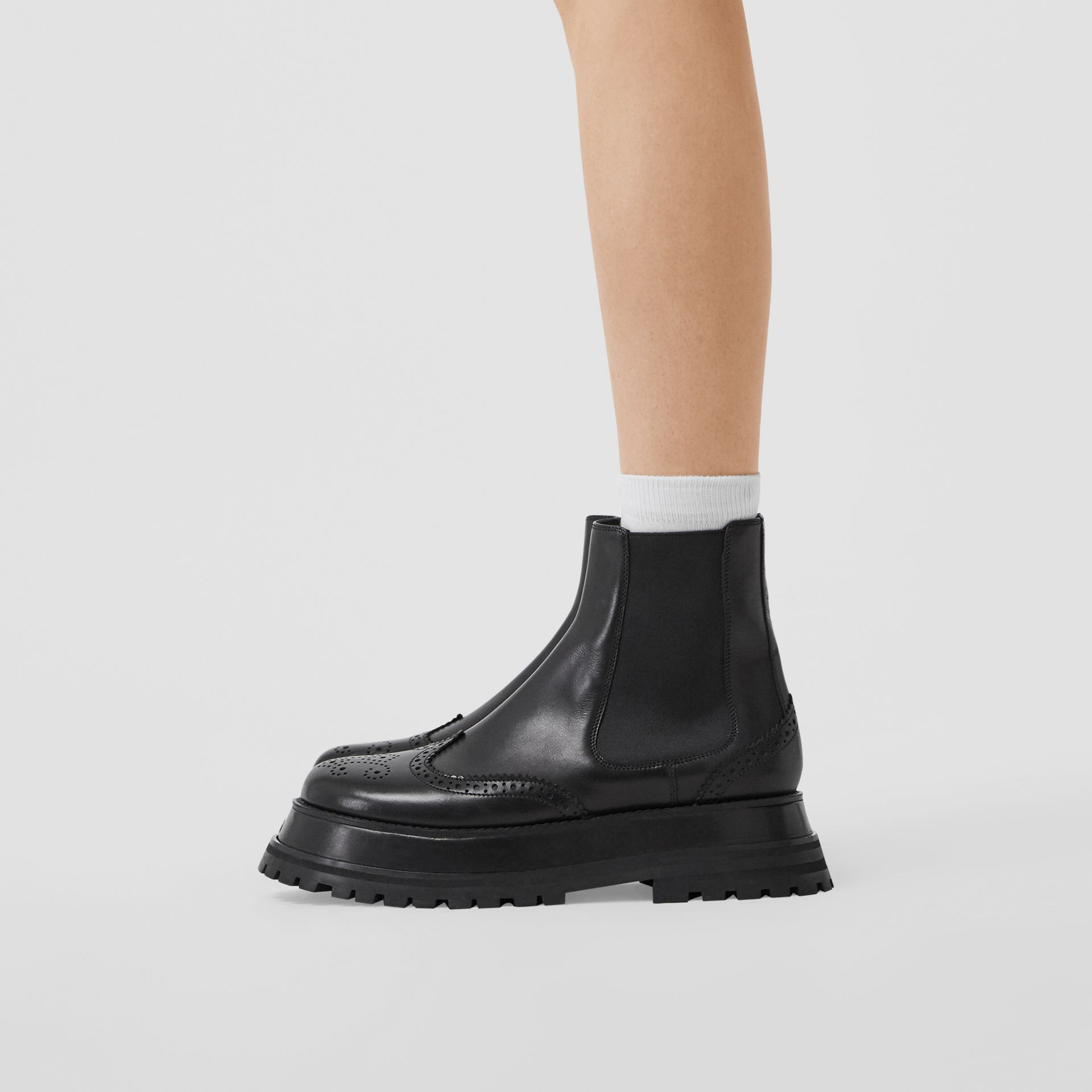 Brogue Detail Leather Chelsea Boots in Black - Women | Burberry - gallery image 2