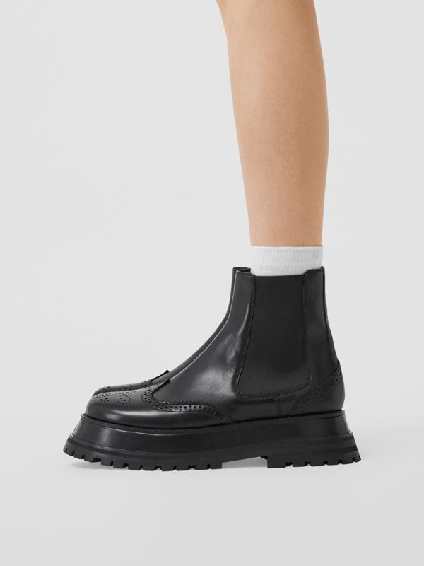 Brogue Detail Leather Chelsea Boots in Black - Women | Burberry Singapore - cell image 2