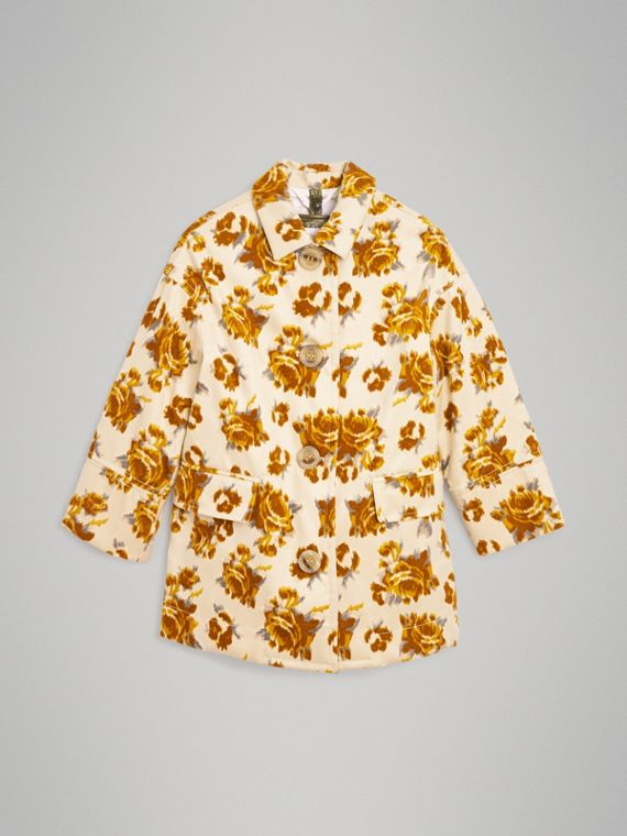 Floral Velvet Jacquard Car Coat with Warmer in Ochre