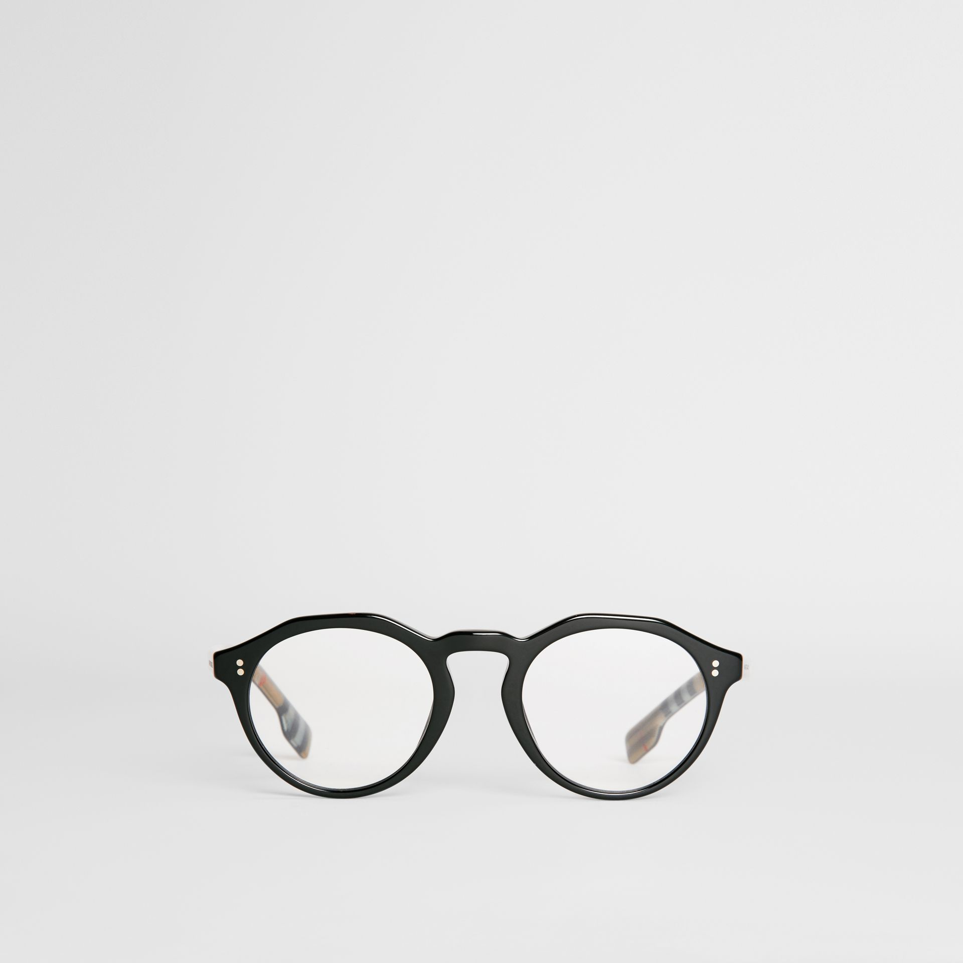 Vintage Check Detail Keyhole Round Optical Frames in Black - Men | Burberry United Kingdom - gallery image 0