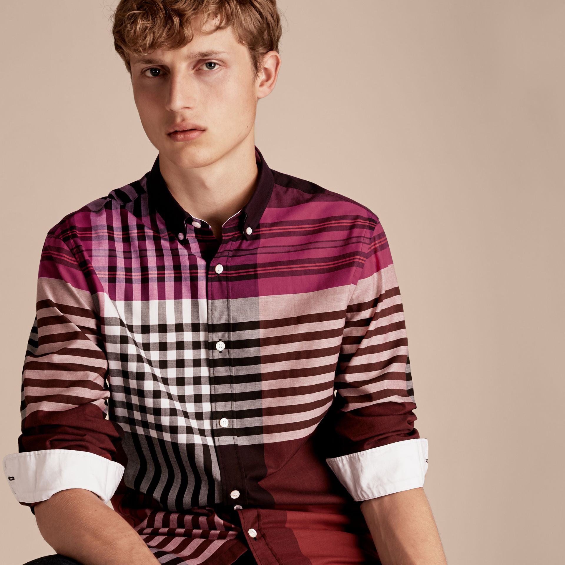 Deep claret Graphic Tartan Cotton Shirt Deep Claret - gallery image 6