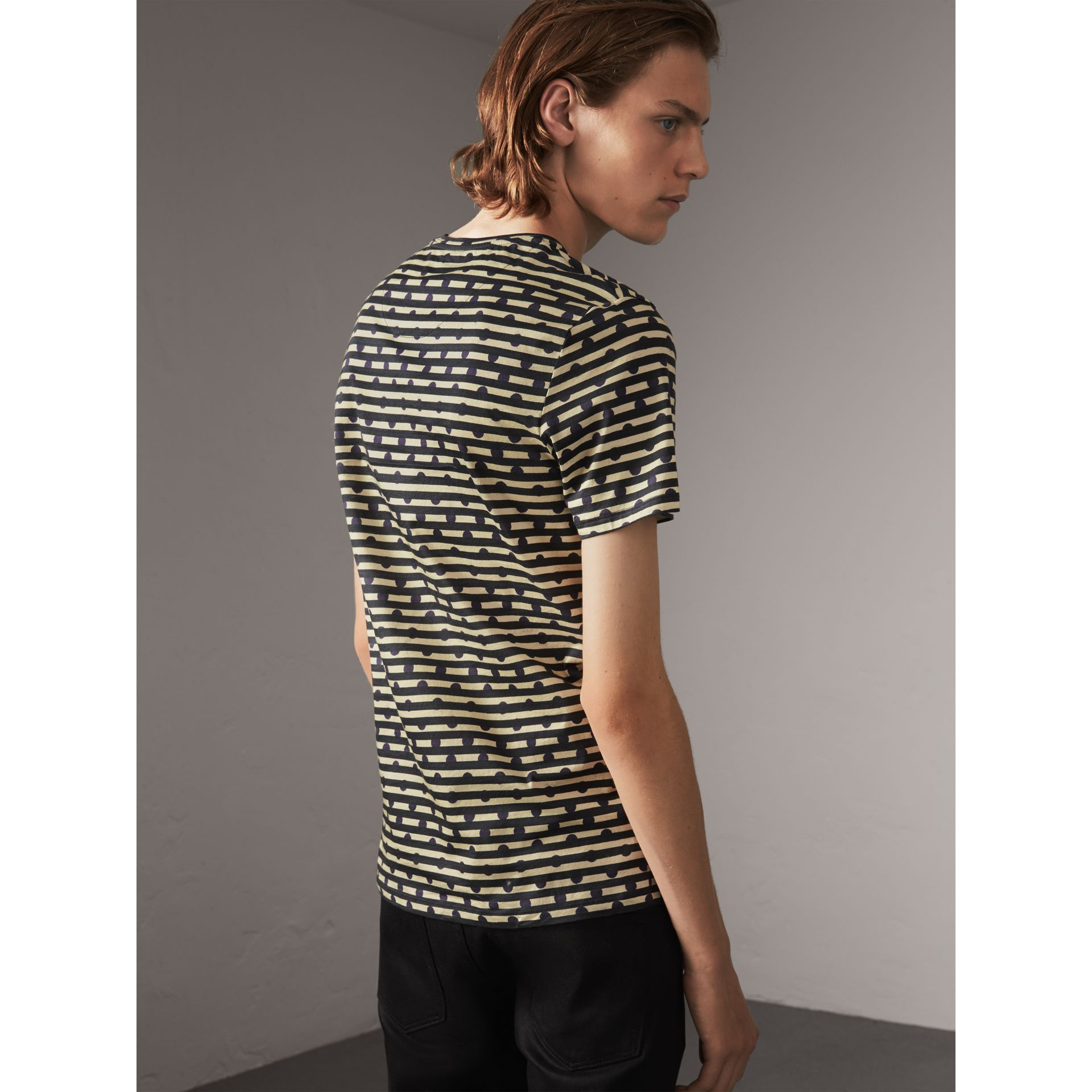 Spot and Stripe Print Cotton T-shirt in Navy - Men | Burberry - gallery image 2