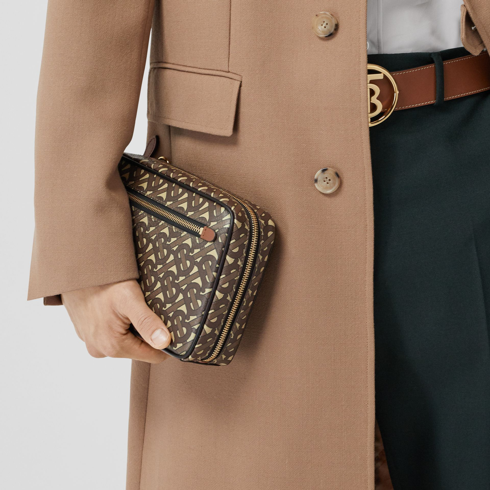 Monogram Print E-canvas Crossbody Bag in Bridle Brown - Men | Burberry - gallery image 8