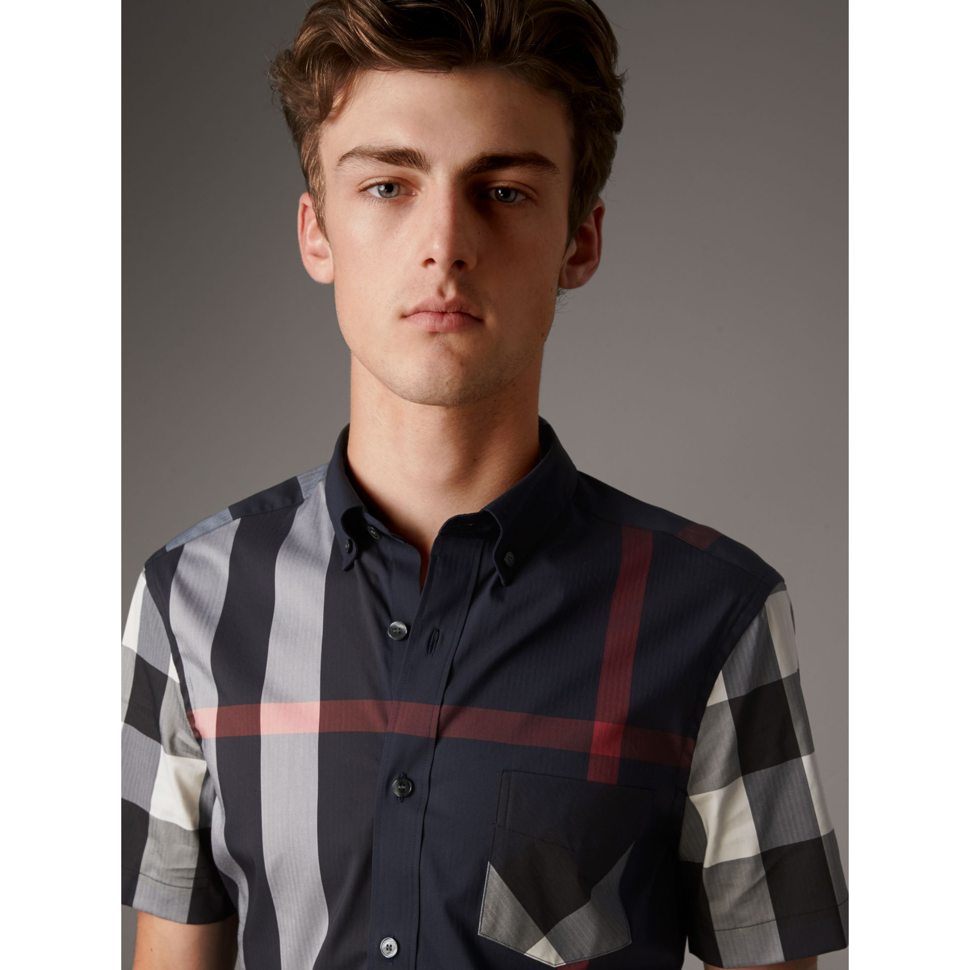 Short-sleeve Check Stretch Cotton Blend Shirt in Navy - Men | Burberry - gallery image 1