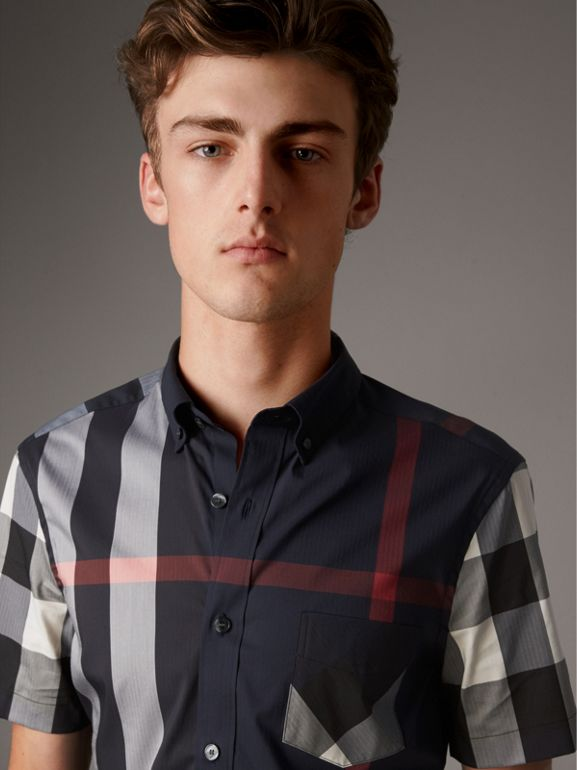 Short-sleeve Check Stretch Cotton Blend Shirt in Navy - Men | Burberry - cell image 1