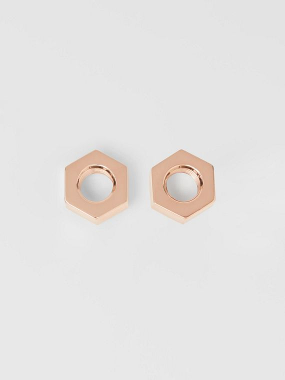 Rose Gold-plated Nut Earrings