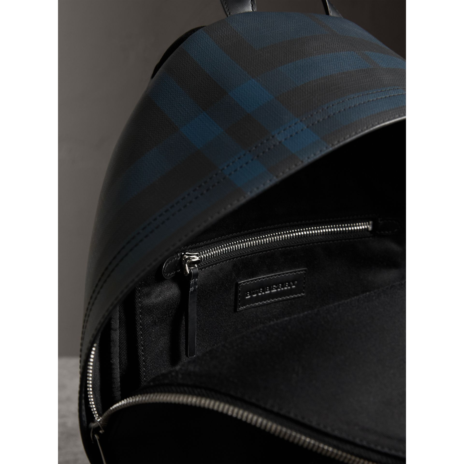 Leather Trim London Check Backpack in Navy/black - Men | Burberry - gallery image 4