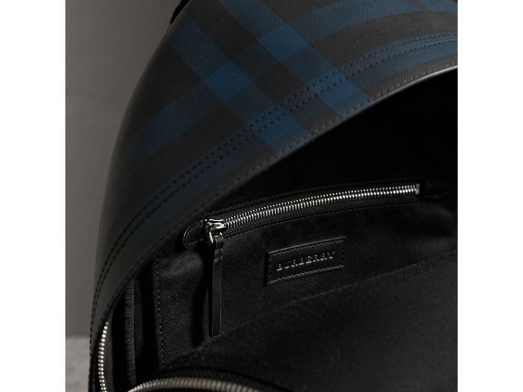 Leather Trim London Check Backpack in Navy/black - Men | Burberry - cell image 4