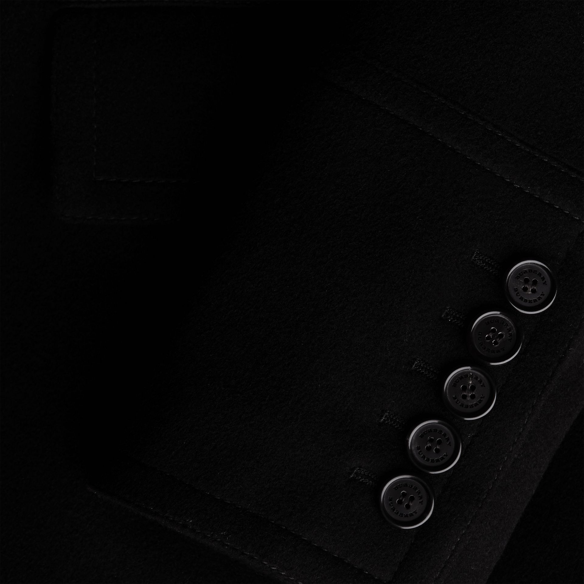 Black Wool Cashmere Pea Coat Black - gallery image 5
