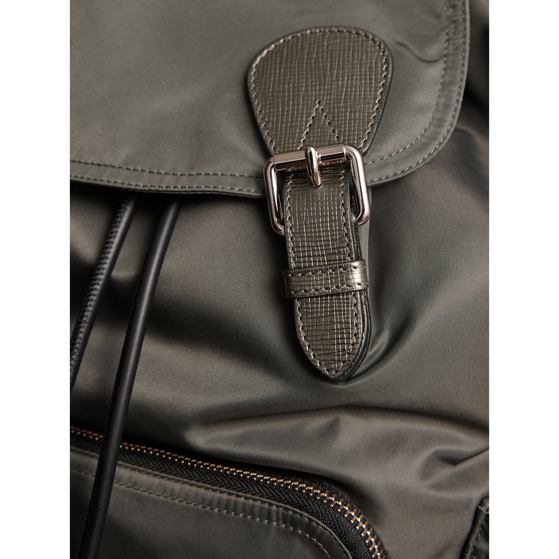The Medium Rucksack in Technical Nylon and Leather in Dark Grey/dark Grey - Women | Burberry - gallery image 7