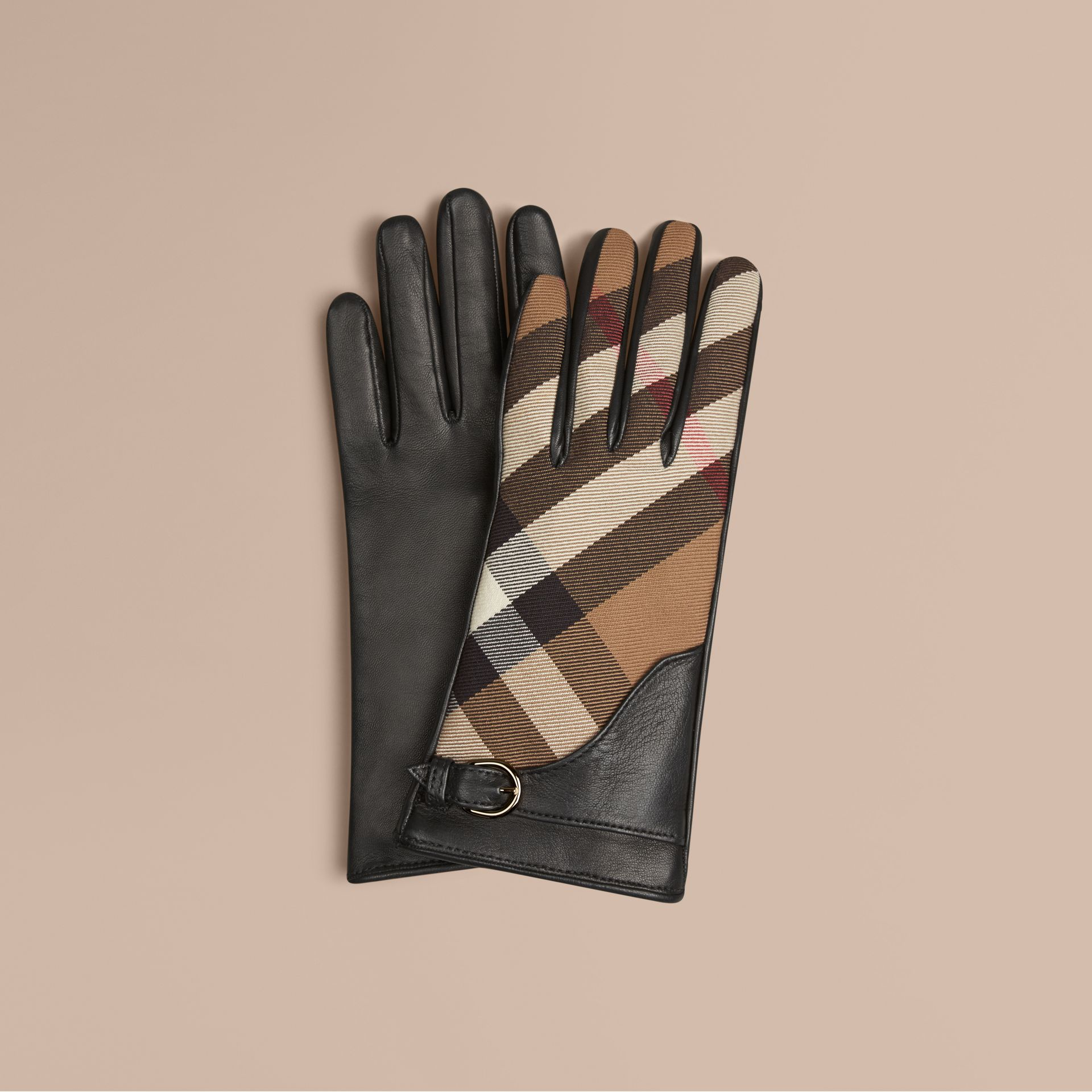 Black Leather and House Check Gloves Black - gallery image 1