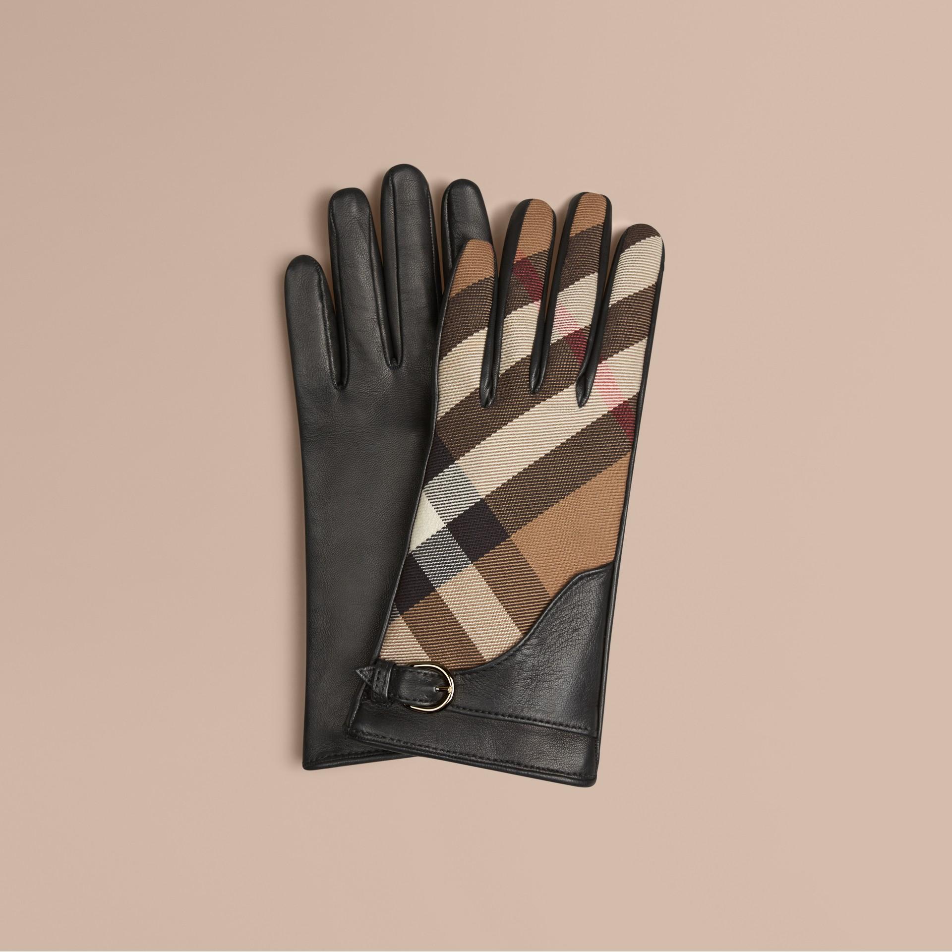 Schwarz Lederhandschuhe mit House Check-Muster Schwarz - Galerie-Bild 1