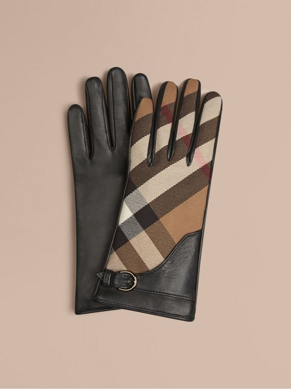 Leather and House Check Gloves Black