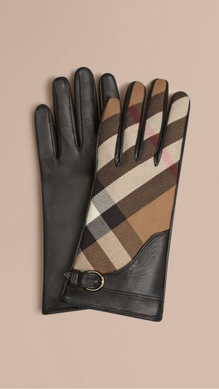 Leather and House Check Gloves