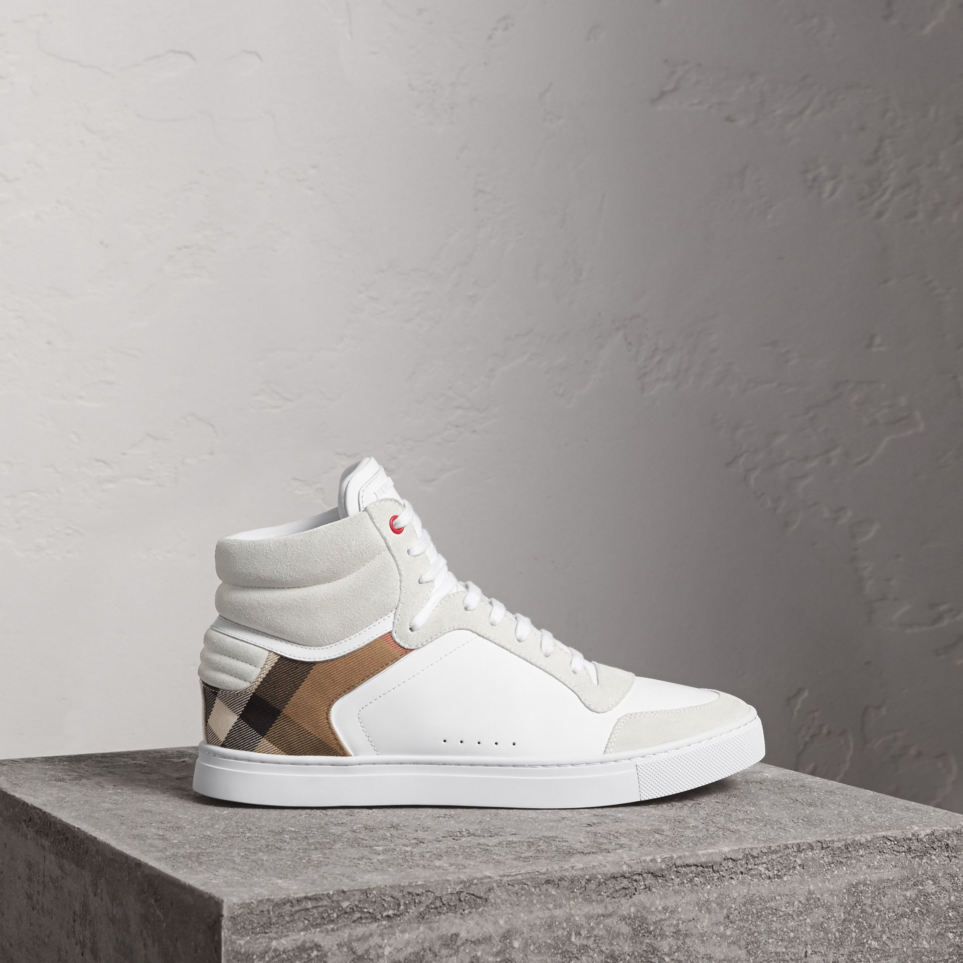 Leather and House Check High-top Sneakers in Optic White - Men | Burberry Australia - gallery image 0