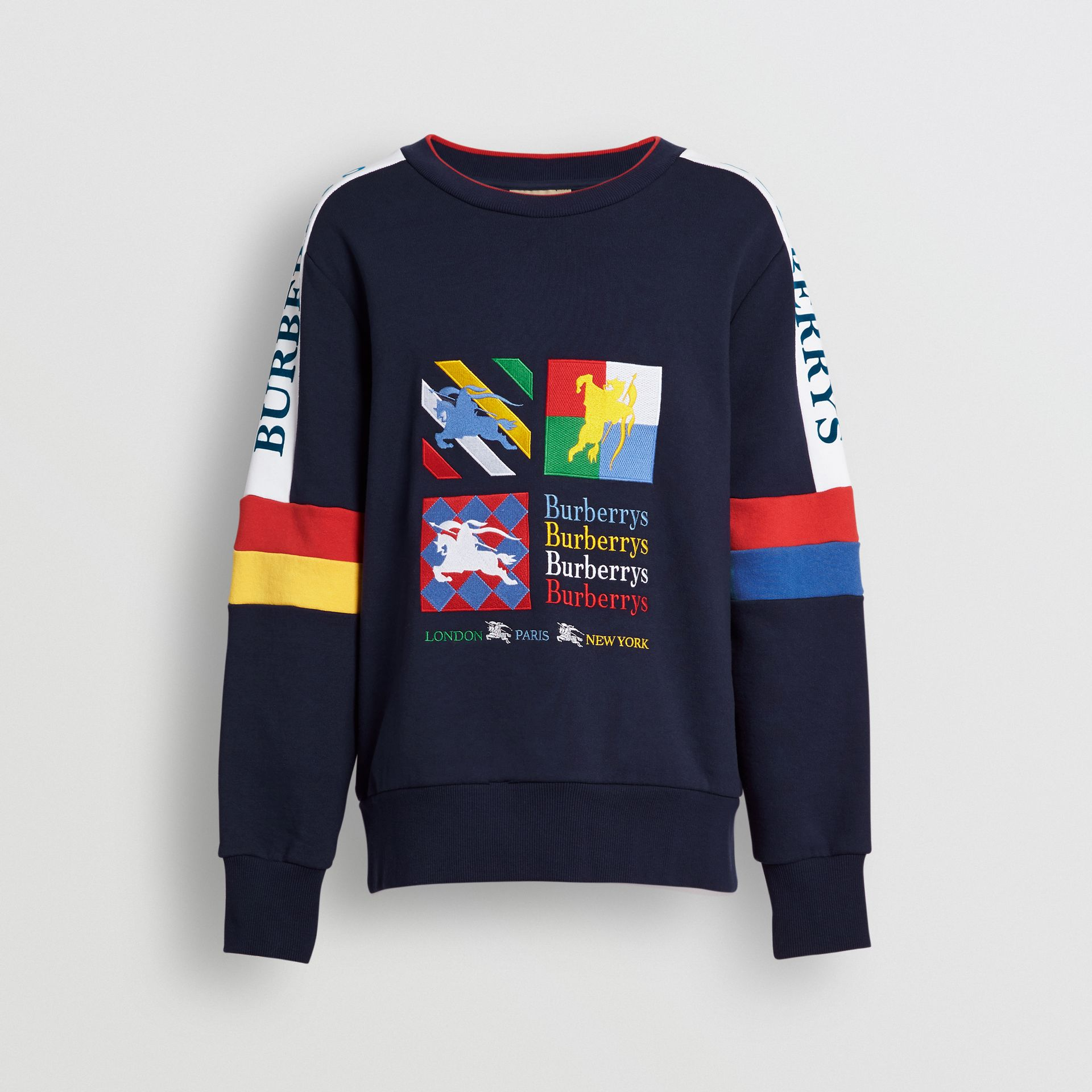 Colour Block Embroidered Archive Logo Sweatshirt in True Navy - Men | Burberry Canada - gallery image 3