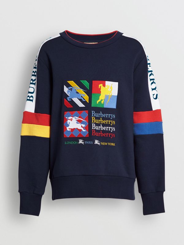 Colour Block Embroidered Archive Logo Sweatshirt in True Navy - Men | Burberry Australia - cell image 3