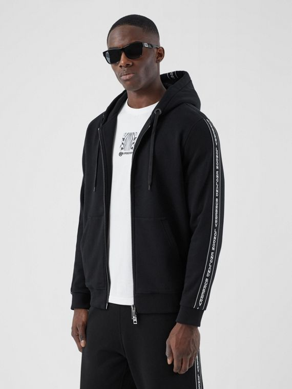 Logo Tape Cotton Hooded Top in Black