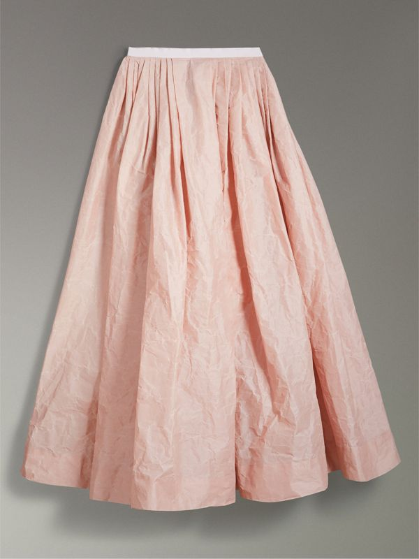 Coated Cotton Blend Maxi Skirt in Pale Rose - Women | Burberry - cell image 3