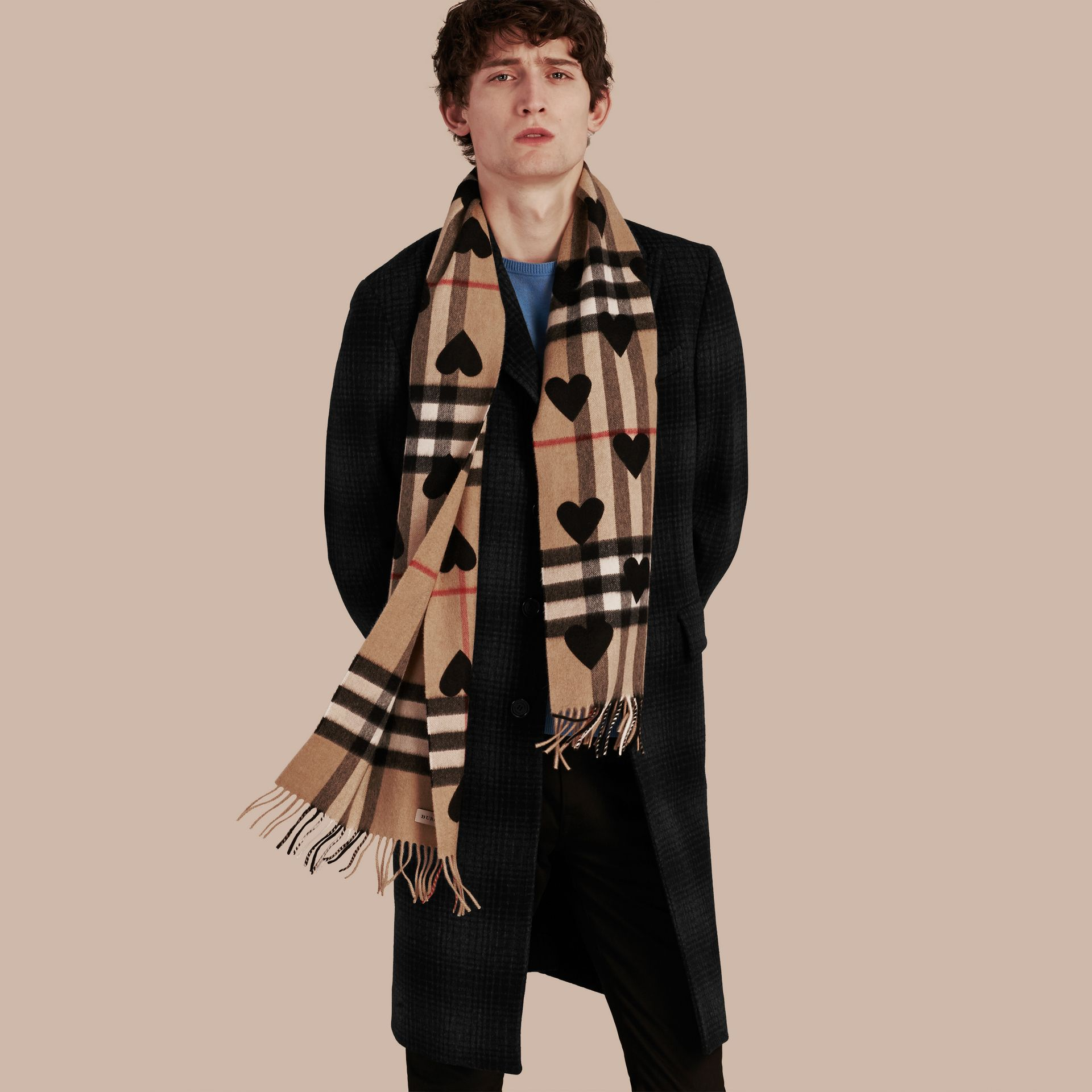 The Classic Cashmere Scarf in Check and Hearts Black - gallery image 4