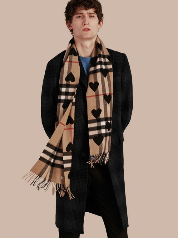 The Classic Cashmere Scarf in Check and Hearts in Black - cell image 3