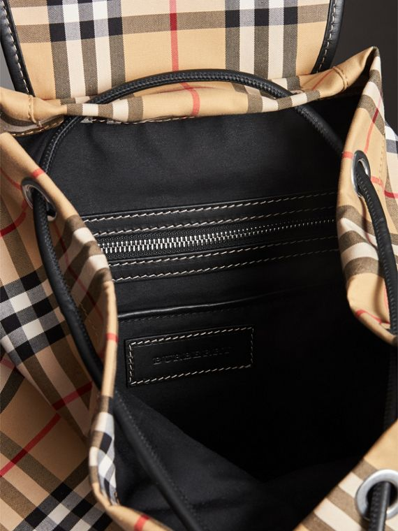 The Medium Rucksack in Vintage Check Cotton Canvas in Antique Yellow - Women | Burberry - cell image 3