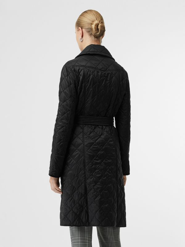 Lightweight Diamond Quilted Coat in Black - Women | Burberry - cell image 2