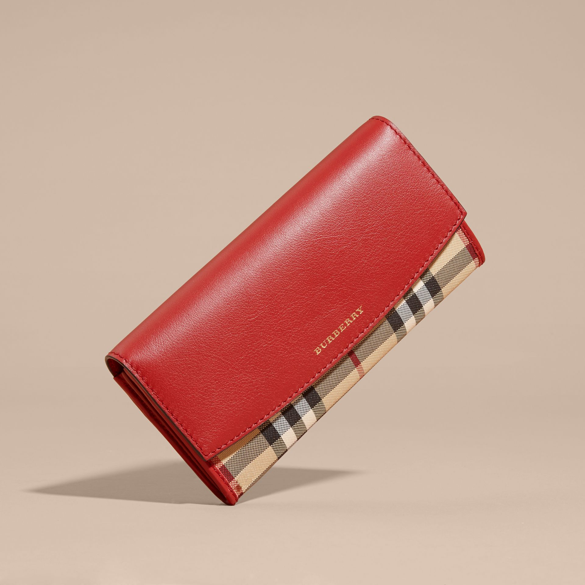 Horseferry Check and Leather Continental Wallet Parade Red - gallery image 3