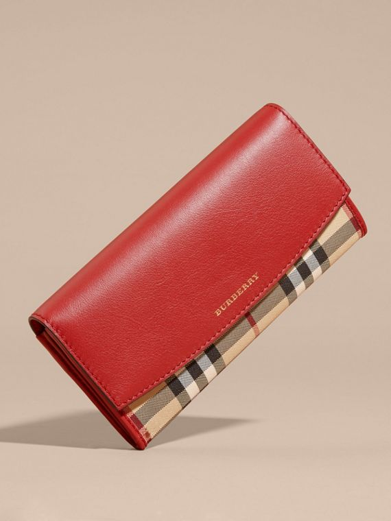 Horseferry Check and Leather Continental Wallet Parade Red - cell image 2