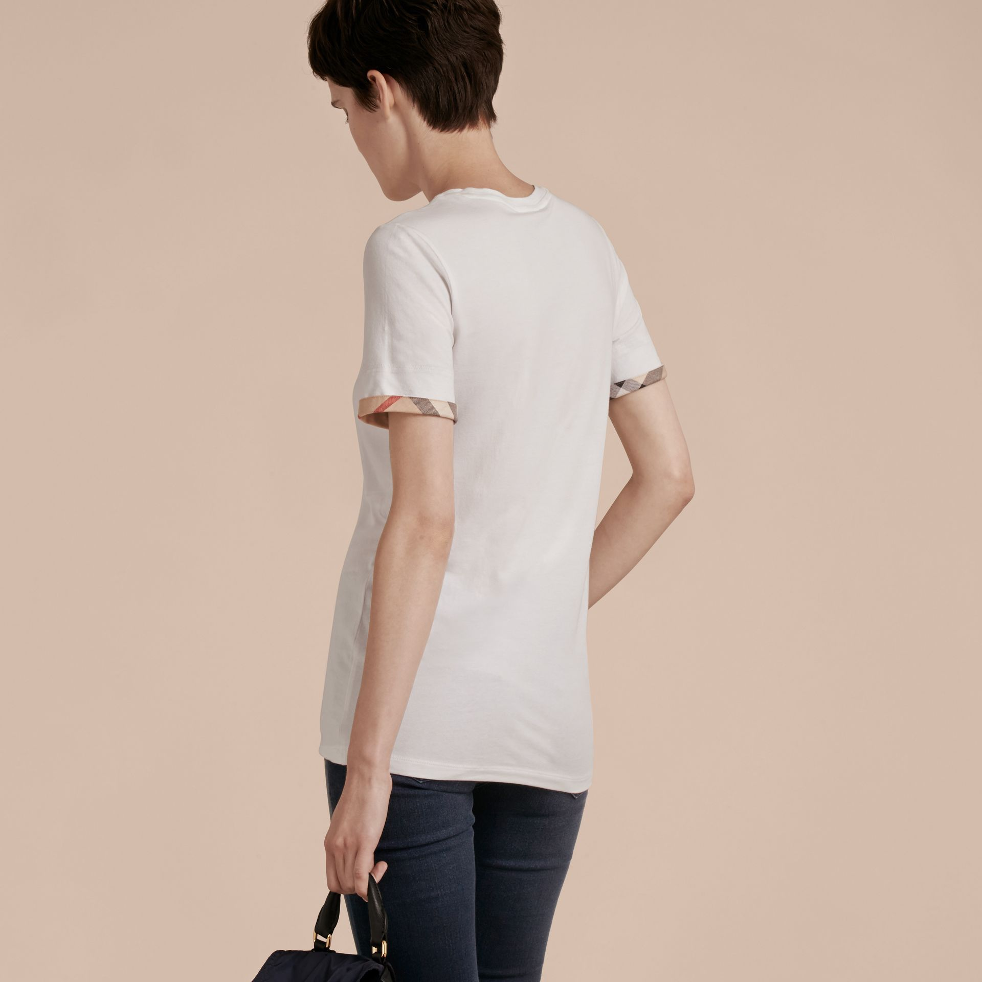 Check Cuff Stretch Cotton T-Shirt in White - Women | Burberry - gallery image 3