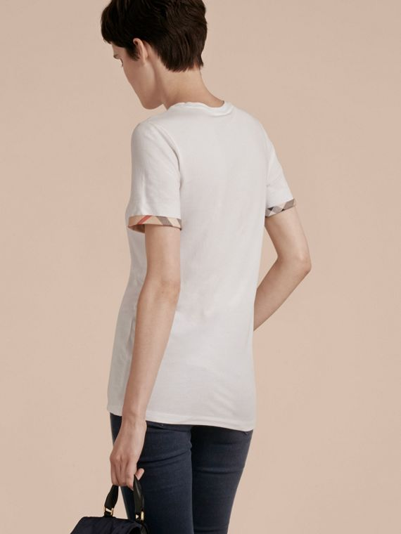 Check Cuff Stretch Cotton T-Shirt in White - cell image 2